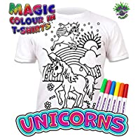Splat Planet Colour-in Unicorn T-Shirt with 6 Non-Toxic Washable Magic Pens - Colour-in and Wash Out T-Shirt