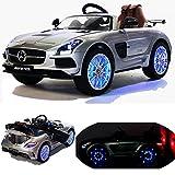 Mercedes-Benz SLS AMG viele LED Effekte Soft Start Kinderauto Kinderfahrzeug Kinder Elektroauto -silber-