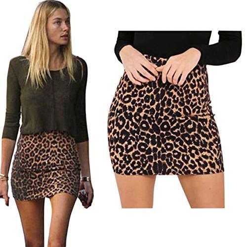 Falda Leopardo Cintura Alta Cadera Mujeres Stretch Elásticos Imprimir Corta Jersey Minifalda Vestido Mujer Mini Vestido Casual Leopardo de Inglaterra Imprimió Falda de Mujer (S, marrón)