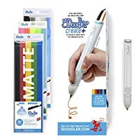 3Doodler Create+ 3D Printing Pen Set with 75 Filaments (600 ft. of Extruded Plastic), Quartz Grey, 2019 Model (UK-Plug)
