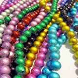 Pretty Pebbles Beads - 100 Drawbench Glass Beads 6mm metallic colour mix
