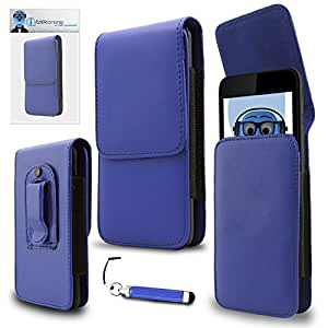 iTALKonline Alcatel One Touch 990 Blue PREMIUM PU Leather Vertical Executive Side Pouch Case Cover Holster with Belt Loop Clip and Magnetic Closure and Re-Tractable Captive Touch Tip Stylus Pen with Rubber Tip