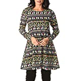 Xmiral Weihnachtskleid Damen Vintage Sankt Printed A-Line Minikleider Lose Kostüm (5XL,Grün)