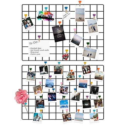Maison & White Wandbehang Panel Grid | Multifunktionale dekorative Wand Display Mesh | Packung mit 2 Black Metal Art Display Foto Wand -