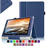 Fintie Lenovo Yoga 10 / Yoga 10 HD+ Folio Hülle Case Cover Tasche Etui - Kunstleder Schutzhülle mit Stylus-Halterung (Für Yoga Tablet HD+10,1 Zoll / Yoga Tablet 10 Zoll HD) - Marineblau