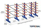 Kragarmregal KR6000 für extrem schwere Lasten, 1000kg/Arm, 6000kg/Ständer, Breite 5,9m, Höhe: 4m, Armtiefe 75cm, 5 Ebenen, doppelseitig, Langgutregal