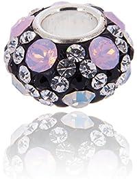 Opale avec Rose, Blanc et noir cristal Swarovski Charm - VŽritable 925 en argent sterling. Noyau 4.5mm Pandora et d'autres Bracelets 3mm.
