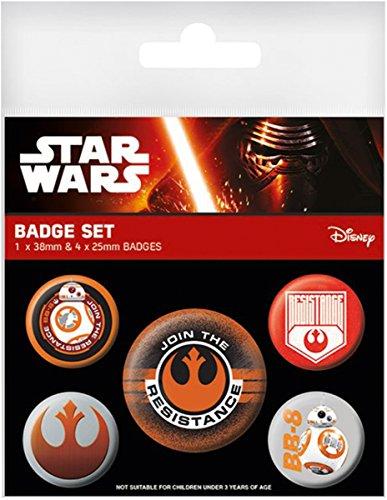 Set de 5 Botones/Badges Star Wars: Episodio VII - The Force Awakens/El Despertar de la Fuerza 'Resistance/Resistencia'