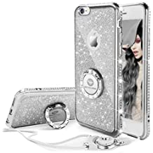 Funda iPhone 6/6S,Banca Correa Para el Cuello Movil Bling Glitter Resplandecer Diamante de Imitación Transparente Caso el iPhone 6/6S- Argenta