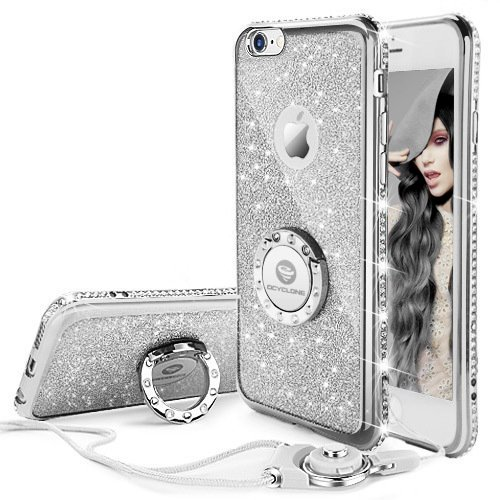 Cover iPhone 6 Plus/6S Plus Glitter Silicone per Ragazze,Kickstand Bling Diamante Brillante Cristallo Lucciante Luminosa Custodia Gel Case per iPhone 6 Plus/6S Plus, 5.5 inch (Trasparente) iPhone 6 Plus/6S Plus Argenta
