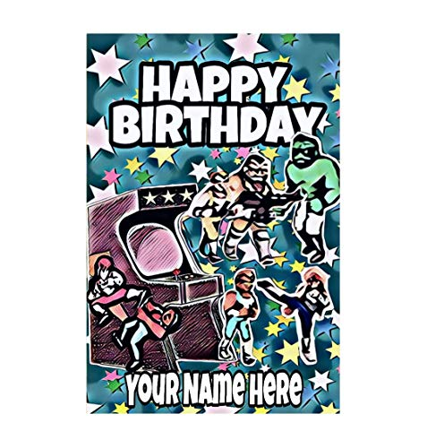 Personalised Nostalgic 80's Art Inspired by Video Arcade Game Double Dragon  Canvas Birthday Card