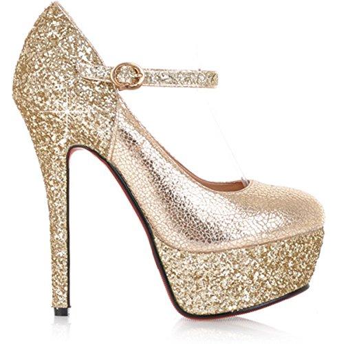YE Frauen Runde Zehe Stilettos-Absatz-Plattform-rote untere Knoechelriemchen Art und Weise reizvolle Pumps-Parteischuhe Gold