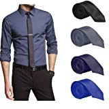 #5: Set of 4 Slim Satin Tie for Men - Formal, Party Wear, Birthday Gifts. Black, Grey, Navy Blue, Royal Blue