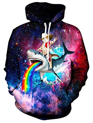Winter Pullover Sweatshirt (Spreadhoodie 3D Hoodies Sweatshirt Pullover Katze Teen Jungen Mädchen Cool Galaxy Astronaut Print Pullover Mit Kapuze Langarm Gym Sport Sweatshirt Rot Blau Unisex L)