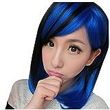 Frauen kurze glatte Peruecke - SODIAL(R) Mode Two Tone Schwarz Blau Cosplay Peruecke kurze glatte Fluffy Haar-Peruecken fuer Frauen
