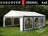 Dancover Carpa para Fiestas Original 4x6m PVC, Gris/Blanco