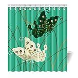 Violetpos Duschvorhang Türkis Herrlich Schmetterlinge Hochwertige Qualität Badezimmer 120 x 180 cm