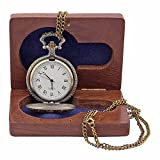 Kartique Crown Embossing Full Hunter White Pocket Watch With Chain