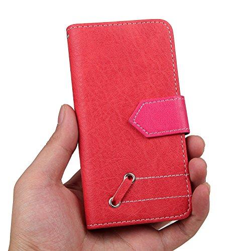 JAWSEU Coque Etui pour iPhone 7,iPhone 7 étui Folio en Cuir,iPhone 7 Flip Wallet Case Portefeuille Pu Housse de Protection,Retro Luxe Fermeture Magnétique Intense Pure Leather Pu Case Coque Ultra Slim Rouge+Rose Rouge