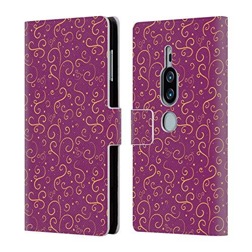 Head Case Designs Offizielle Rose Khan Magenta-Goldstrudel Muster Brieftasche Handyhülle aus Leder für Sony Xperia XZ2 Premium Premium-magenta Rose