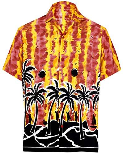 Button-down-falten Hemd (LA LEELA Hawaiian Hemd Beach Hemd Funky Hawaiihemd | Herren | Kurzarm | Front-Tasche | Hawaii-Print | Strand Palmen Meer übergröße Aloha XS Rot_W410)