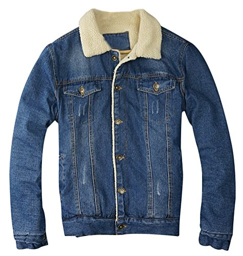 Brinny Herren Jeansjacke Plus Velvet Winter Warm Pelz Kragen Schlank Passen Cowboy Jacke Im freien Mantel Trenchcoat, Gelb - L