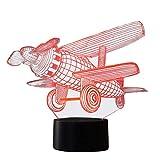 NIID 3D Illusion Nachtlicht LED-Licht 7 Farbe mit Touch-Schalter USB-Kabel Nizza Geschenk Home Office Dekorationen, Modell Plane-4