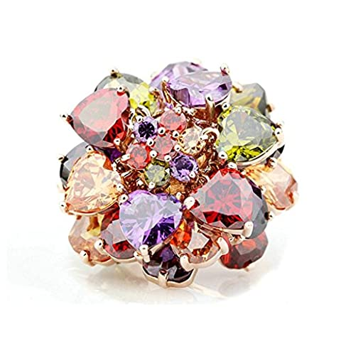 Aooaz Womens Ring Gold Plated Red Purple Yellow Green Crystal Heart Rhinestone Flowers Two Rows Of Crystal White