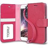 Funda iPhone 6S Plus, TORU [PRESTIZIO] Funda cartera para iPhone 6s Plus [Almacenamiento de tarjetas y carnés][Soporte][Correa] para iPhone 6 Plus/6s Plus - Rosa eléctrico