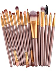 Ularma Belleza 15 PCs / sets Eye Shadow Base ceja Lip Brush Herramienta pinceles de maquillaje (oro)