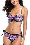 CharmLeaks Damen Bikin Set Mit Bügel Gepolstert Tribal Push Up Bikini Neckholder Herausnehmbare Träger Violett M