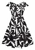 Frauen-Blätter-Druck Retro Weinlese-Art-Cocktailparty-Schwingen-Kleid