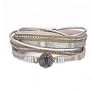 Europäische und amerikanische Mode Multilayer-Armband, Leder besetzt Sauger Wickelarmband mit Box, schöne Accessoires für Frauen, Mädchen, Geschenk für Sie und Ihre Freunde Familie