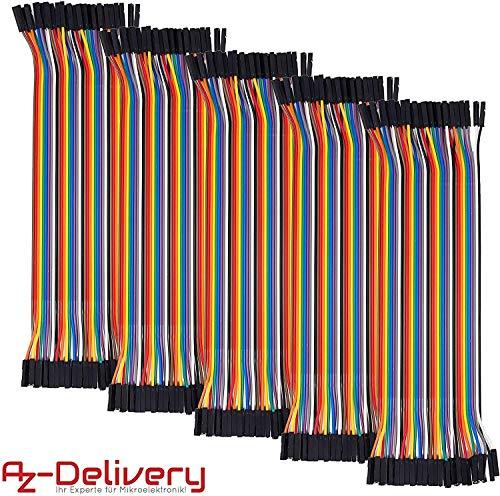 AZDelivery 5 x Jumper Wire Kabel 40 STK. je 20 cm F2F Female to Female für Arduino und Raspberry Pi Breadboard -