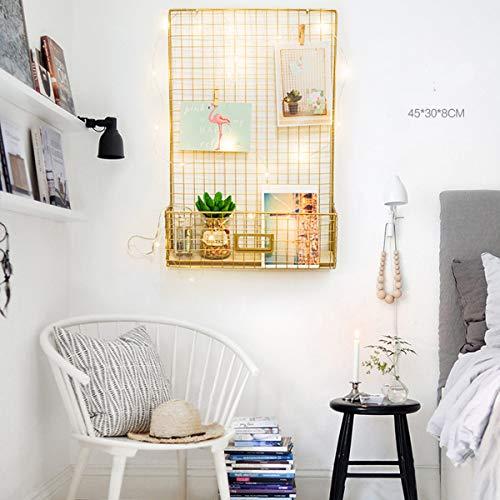 ZHENWOFC Golddraht-Gestell-Metallfoto-moderne Wand hängende Regal-Speicher-Organisator-Körbe mit LED Hardware-Ersatzteile -
