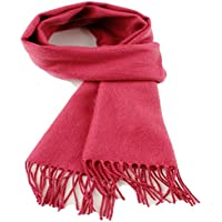 A.WAVE A. WAVE Softer than Cashmere Wool Touch Tassel Ends Plaid Check Solid Scarf (ONE SIZE, INDI PINK)