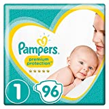 Pampers Premium Protection New Baby Windeln, Gr. 1, 2-5kg, Halbmonatsbox, 1er Pack (1 x 96 Stück)