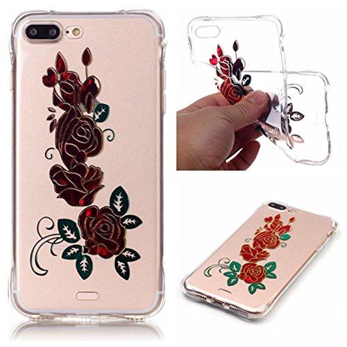 Voguecase® für Apple iPhone 7 4.7 hülle, Schutzhülle / Case / Cover / Hülle / TPU Gel Skin (Lace Blume) + Gratis Universal Eingabestift Rot Rose