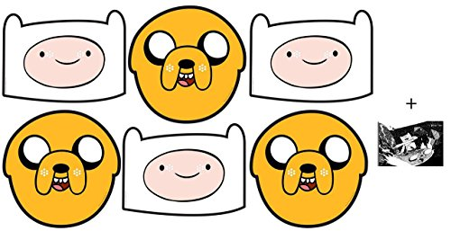 Finn Kostüm Jake - Jake und Finn from Adventure Time Party Card Face Mask Value Pack of 6 Enthält 6X4 (15X10Cm) starfoto