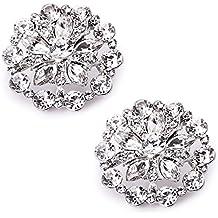 ElegantPark AH Donna Strass Fiori Di Diamanti Rotonda Per Scarpe Da Sposa Scarpe Scintillanti Clip