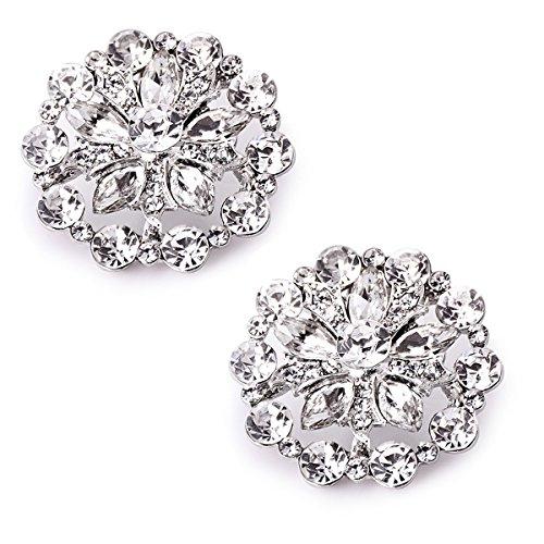 Elegantpark ah01 donna strass fiori di diamanti rotonda per scarpe da sposa scarpe scintillanti clip 1 coppia argento