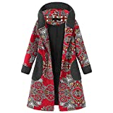 MEIbax Damen Vintage Fleece mit Kapuze Mantel Langarm verdicken Outwear Button Langen Jacke Wollmantel Warm gefüttert Winterjacke