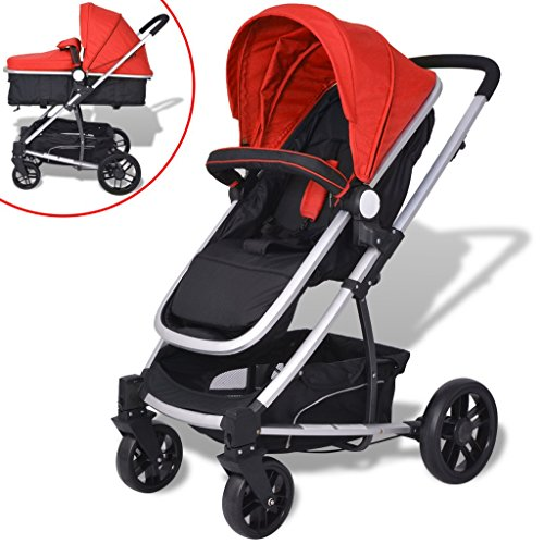 VidaXL 2 In 1 Baby Toddler Stroller Pram Pushchair Buggy Aluminium Red And Black