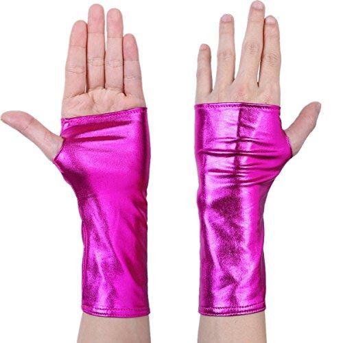 Freebily Damen Handschuhe aus Lackleder Wetlook Mini Metallic Optik Halb Fingerlose Handschuhe für Party Kostüm Rosa One - Rosa Kostüm Handschuhe
