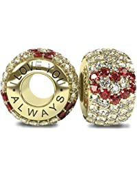 The Royal Collection - I Love You Always - Solid Sterling Silver 925 18k Gold Plated 3 Red Hearts with White CZ Austrian Crystals Pave Bead Charm - will fit Pandora and any similar 4.5mm bracelets