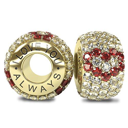 La Colección Real - I Love You Always 925 Plata de Ley Oro 18k Charm Abalorio Cuenta con Cristales Austriacos compatible con Pandora o pulsera similar de 3mm