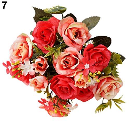 Galleria fotografica 1bouquet 15capi stile europeo Royal rose artificiale Room a fiori Amesii Red