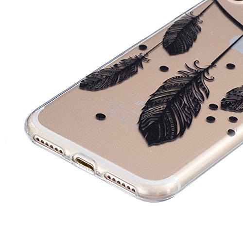 iPhone 7 Hülle,SainCat iPhone 7 Silikon Hülle Tasche Handyhülle Weiß Retro Muster [Elephant] Schutzhülle Transparent TPU Gel Case Bumper Weiche Crystal Kirstall Clear Silikonhülle Durchsichtig Handy G Schwarz-Feder