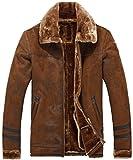 Homme Hiver Vintage épaissir Chaud Fourrure Suède Cuir Manteaux Parka MA1 Bomber Veste Cashmere Doublure Blouson Mens Faux Fur Leather Jacket (FR1602 Café, EU Large)