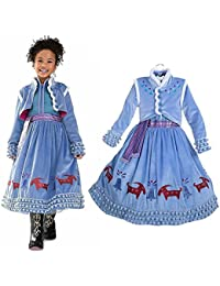 gnrjgs Ropa para niñas Primavera y otoño Invierno Amor Aisha Vestido de Cosplay Vestido de niña de Manga Larga Princesa